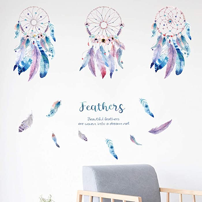3 Piece of Dream Catcher Feathers Wall Decals Large, Peel and Stick Dreams Come True Wall Stickers, Self-Adhesive DIY Mural Art Removable Wall Art Decor for Girls Kids Bedroom Living Room