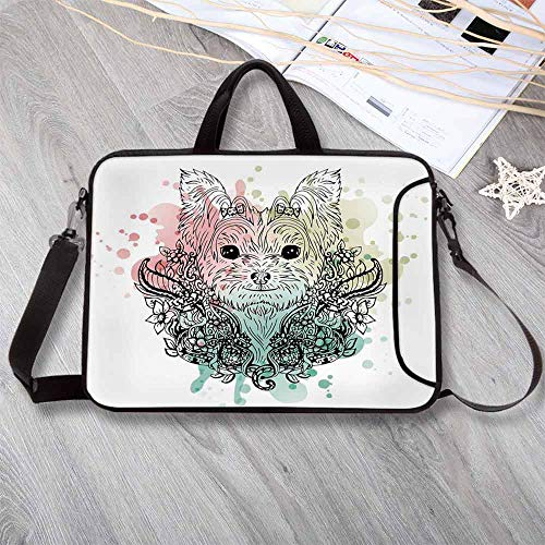 - Yorkie Waterproof Neoprene Laptop Bag,Sketch of a Cute Yorkshire Terrier on a Bed of Flowers Black and White Drawing Art Laptop Bag for Business Casual or School,12.6