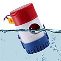 12V Vacuum Water Pump Submersible Marine Boat Bilge Pump 1100GPH Water Pump Used in Boat Seaplane Motor Homes Houseboat(Color:White red and Blue)