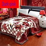 OUYAJI Raschel Thickened Double Winter Super Soft Warm King Queen Size Double-sided Plush Home Travel Sofa Blanket