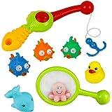 Badespielzeug Angeln Spiele mit Niedlichen Meerestiere Fischernetz und Rod Lustige Bad Zeit für Kinder