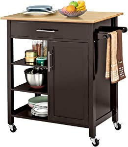 Yaheetech Rolling Kitchen Island Cart with Bamboo Top/Drawer/Towel Rack/Shelves, Portable Kitchen Utility Serving Cart Storage Trolley on Wheels, 34.7L x 18.5W x 36.0H