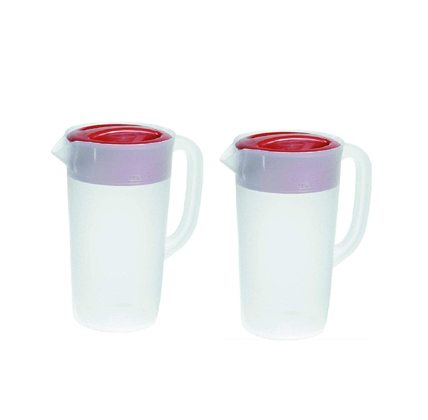 Rubbermaid 30621-4 798837755681 Pitcher 2.25 Qt-Clear with Red Cover Pack of 2, 2 Pack,