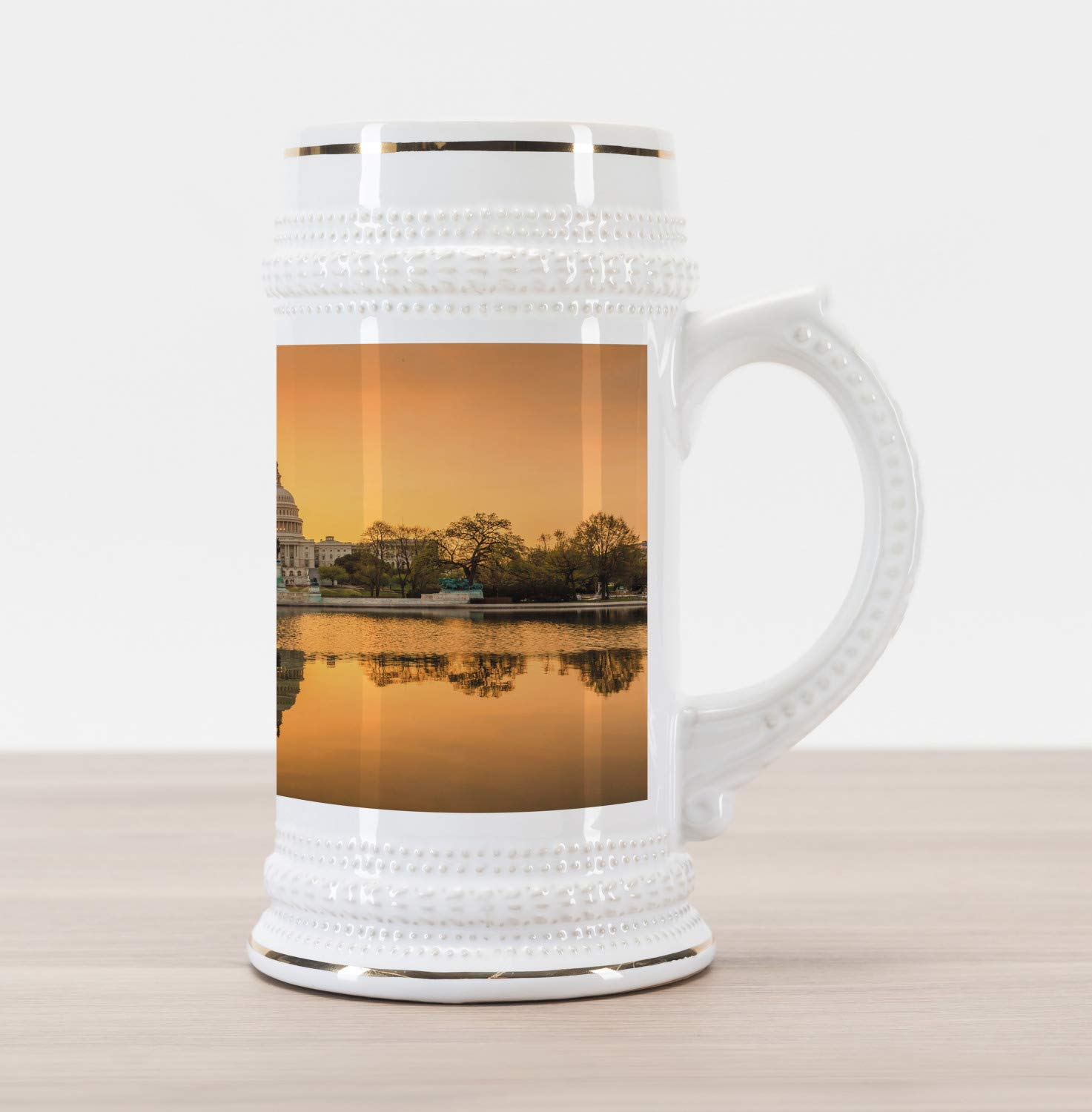 Ambesonne United States Beer Stein Mug, Washington DC American Capital City White House above the Lake Landscape, Traditional Style Decorative Printed Ceramic Large Beer Mug Stein, Apricot Ginger