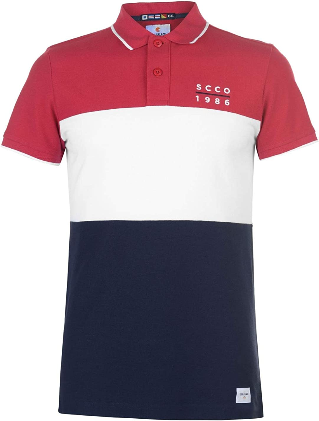 SoulCal Deluxe Cut and Sew Polo Shirt Mens Gents Slim Fit Tee Top Short Sleeve