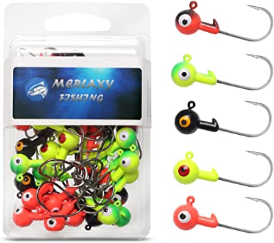 15 pack 1//16 Orange Crappie Jig Heads with #4 hooks and EYES