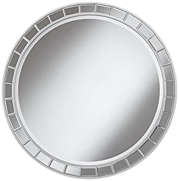 kesha antique silver beveled 36u0026quot round wall mirror