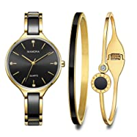 MAMONA Women's Watch and Bracelet Gift Set Crystal Accented Ceramic and Stainless Steel Black L3877BKGT