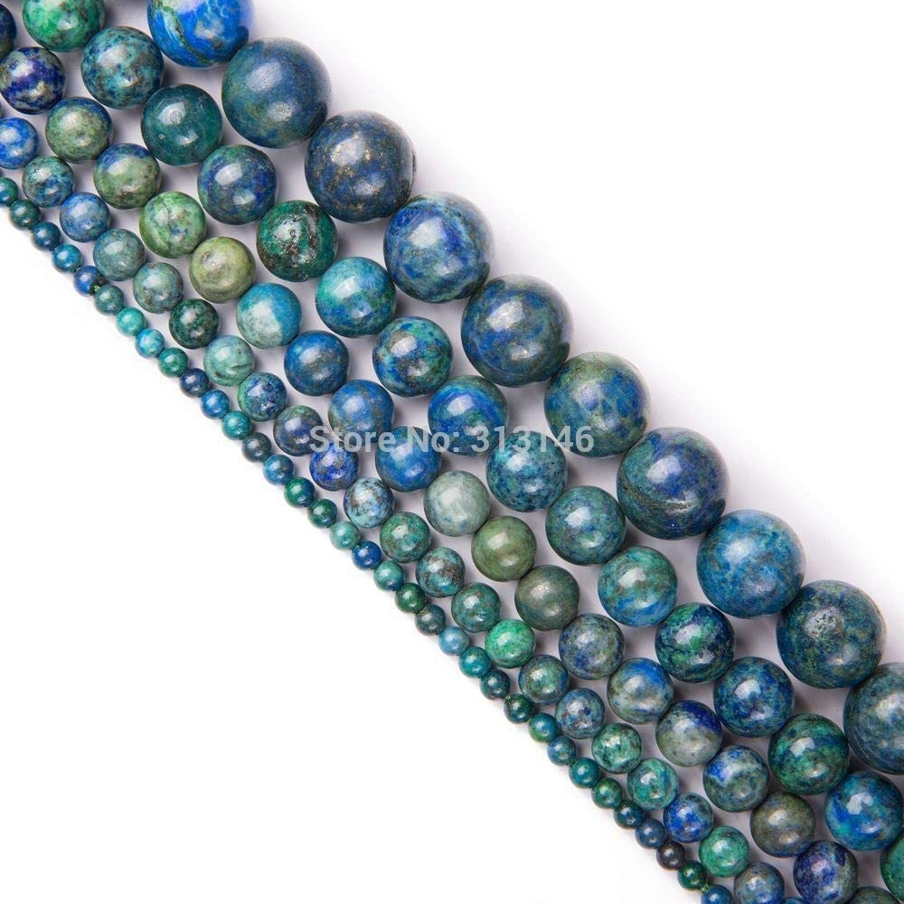 SHENGSHIHUIZHONG Natural al por Mayor Semi Preciosa de la Ronda Gem Beads Chrysocolla Azurita Piedra mechón for la joyería de DIY Que Hace 4 6 8 10 12 mm 15 (Talla : 10mm (Approx 38 pcs))