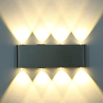 Aluminium Applique Intérieur Mini Led Lampe Mur Amzdeal® En Murale Chaud 8w blanc 8 v6yY7fgb