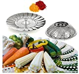 sea-junop Stainless Steel Kitchen Vegetable Fruit Dish Steamer Basket with Feet