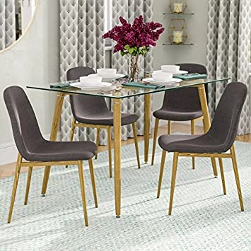 IDS Home Eames Style Dining Room Chairs Set for 4, Solid Metal Legs with Wooden Print, Side Chairs with Fabric Cushion Seat – Grey