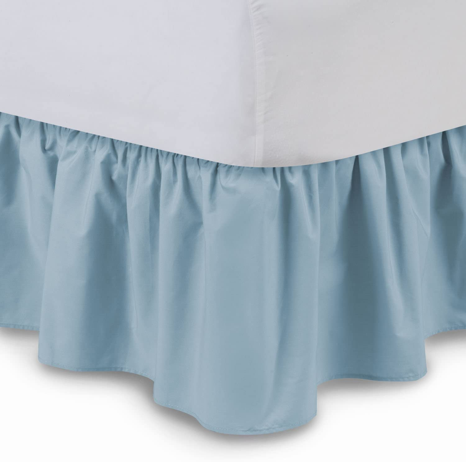 Ruffled Bedskirt (Cal King, Porcelain Blue) 18 Inch Bed Skirt with Platform, Wrinkle and Fade Resistant - by Harmony Lane (Available in All Bed Sizes and 16 Colors)