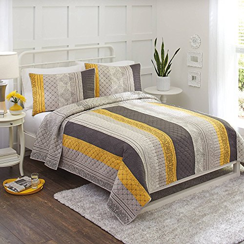 Bold, Intricatedly Embroidered, Super Soft, 100 Percent Cotton Better Homes and Gardens Imperial Lattice Yellow Grey Pieced Bedding Quilt, King (Garden Lattice Quilt)