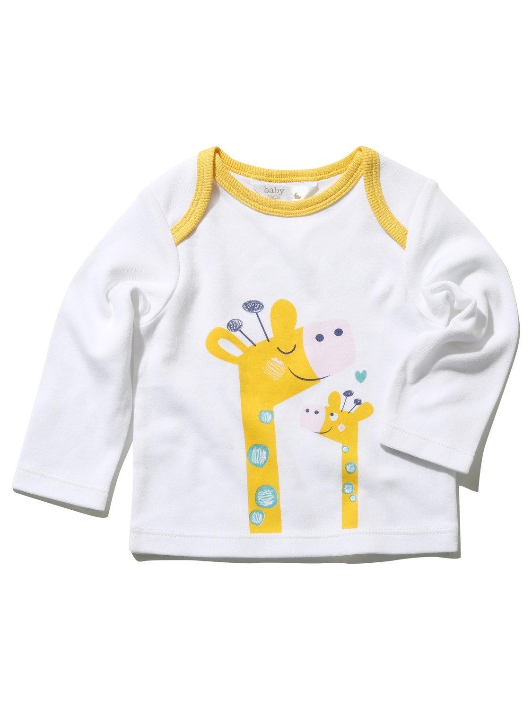 M& Co Newborn Unisex Baby 100% Cotton White Long Sleeve Yellow Trim Envelop Neck Giraffe Print T-Shirt