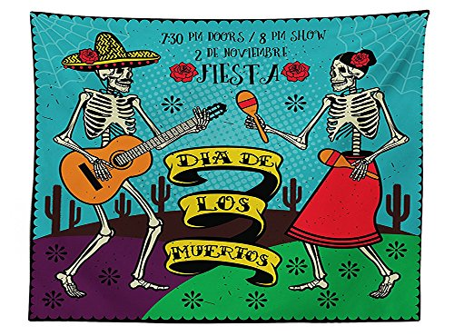[vipsung Day Of The Dead Decor Tablecloth Dia de Los Muertos Festive with Spanish Couple Dancing Image Print Dining Room Kitchen Rectangular Table Cover] (Monster High Dia De Los Muertos)