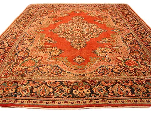 11 x 14 Red Vintage Open Filed Handmade Sarouk 10' 6'' x 13' 10'' Rug