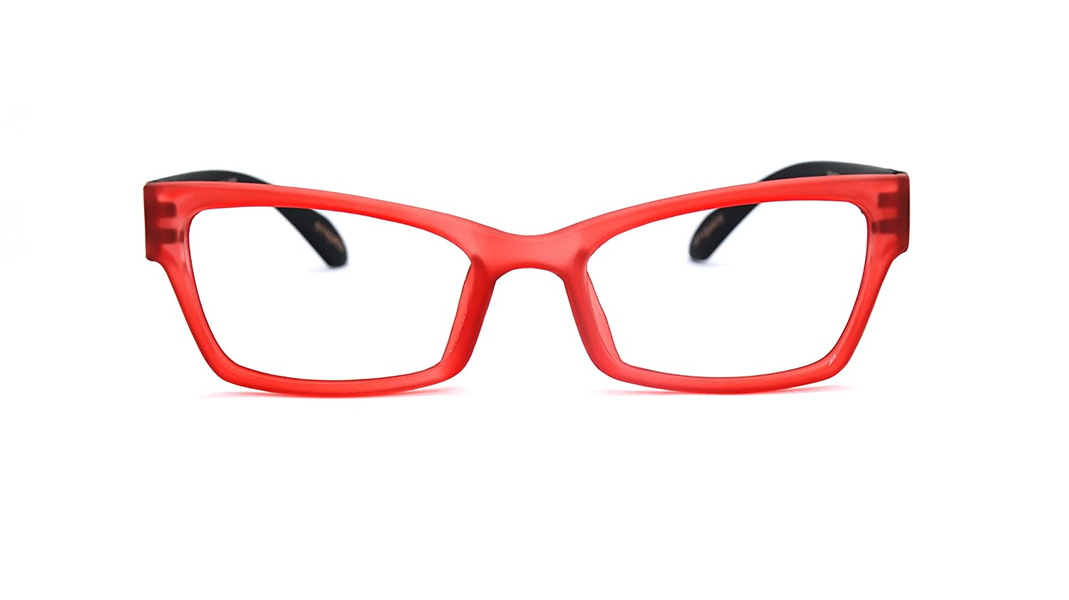 a808c3a65e Amazon.com  Eyejets Venice Cateye Designer Reading Glasses (RED SOFT TOUCH  FRAME  BLACK SOFT TOUCH TEMPLES