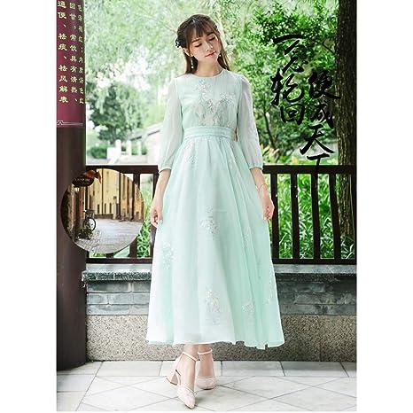 buy popular b4157 48a32 QAQBDBCKL Vestito Elegante Fluido dalla Cintura con Fiori ...