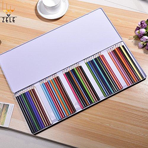 Lanlan 2.65mm 50surtidos fácil de trabajo de madera lápices de color profesional con caja de hierro