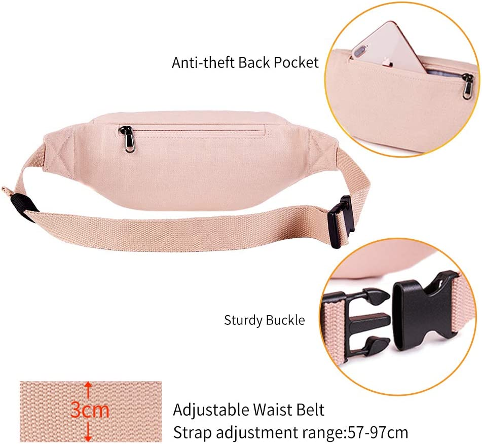 KALIDI Bumbag Unisex Fanny Pack Waistpack Zipper Pockets Waist Bag with Adjustable Strap for Outdoor Sports Running Cycling Traveling