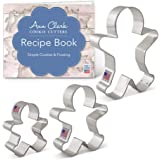 """Ann Clark Cookie Cutters 3-Piece Gingerbread Man Cookie Cutter Set with Recipe Booklet, 2.9"""", 3.75"""", 5"""""""