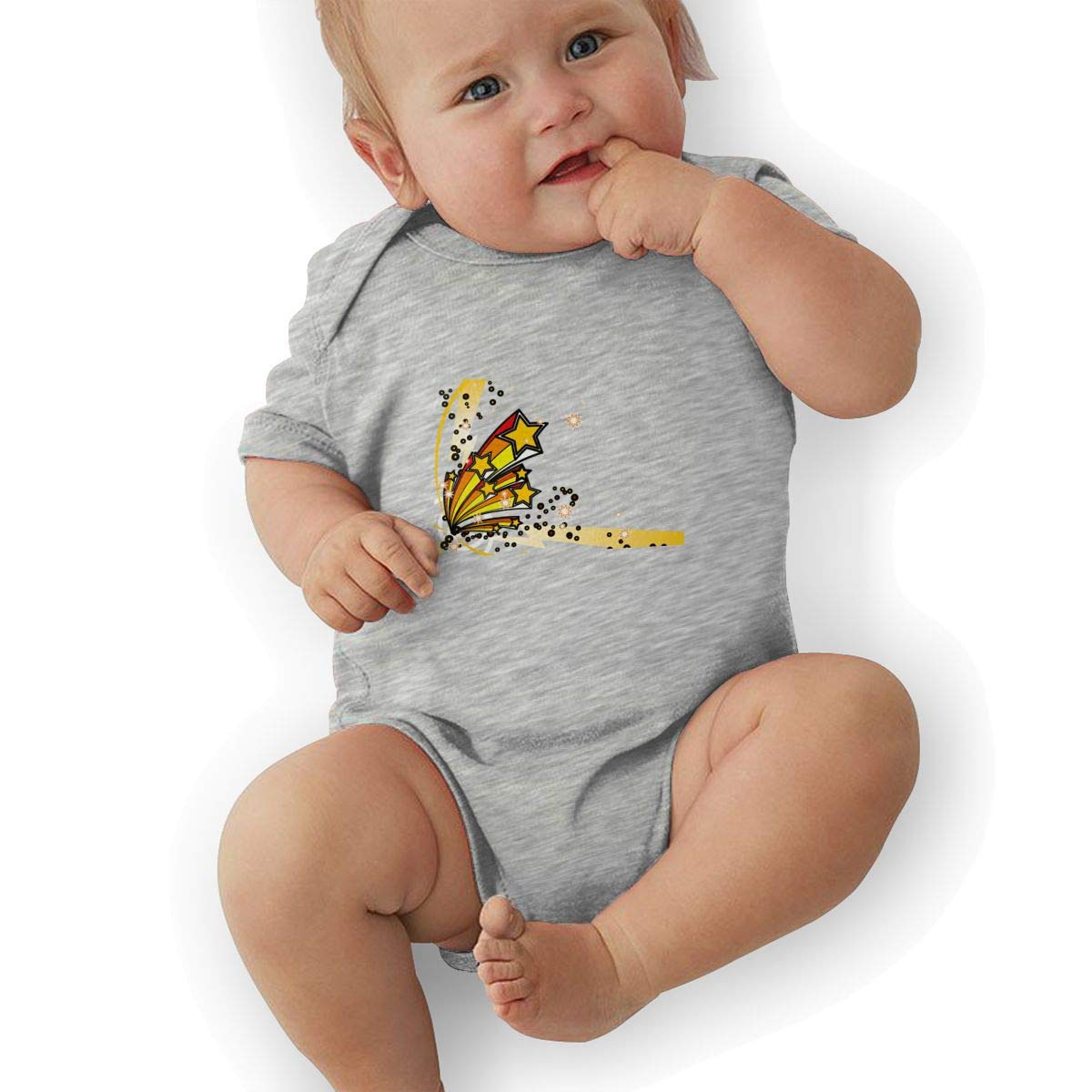 Toddler Baby Boys Bodysuit Short-Sleeve Onesie Creative Stereoscopic Stars Print Outfit Spring Pajamas