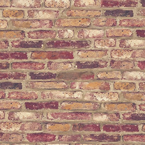 HaokHome 62040 Faux Brick Peel and Stick Wallpaper Rusty Red/Brown/Purple Self Adhesive Contact Paper
