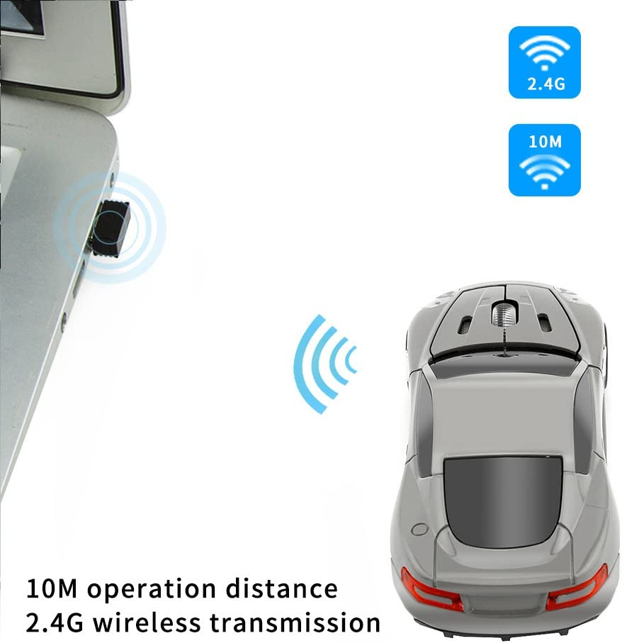 NBLYW Cool Sport Car Shaped Mouse,2.4GHz Wireless Car Ultra Small Optical Mouse with USB Receiver,3 Button Mouse Ergonomic for PC Laptop Computer
