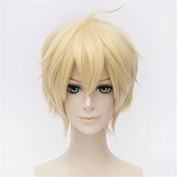 LanTing Cosplay Peluca Seraph Of The End Mikaela Hyakuya Blonde Short Styled Woman Cosplay Party Fashion Anime Human Costume Full wigs Synthetic Cabello ...