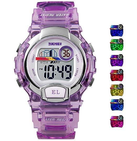 Relojes Digitales para niños y niñas, 5 ATM, Impermeable, Reloj Deportivo con Alarma