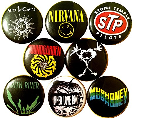 GRUNGE ROCK 8 NEW pins buttons badges NIRVANA SOUNDGARDEN ALICE IN CHAINS STP - Girl Costumes For Halloween Tumblr