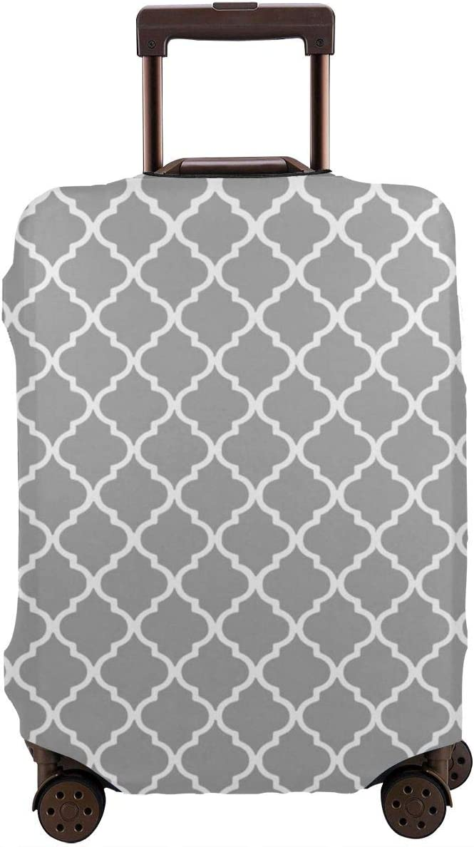 Luggage Cover Moroccan Tile Gray And White Lattice Protective Travel Trunk Case Elastic Luggage Suitcase Protector Cover