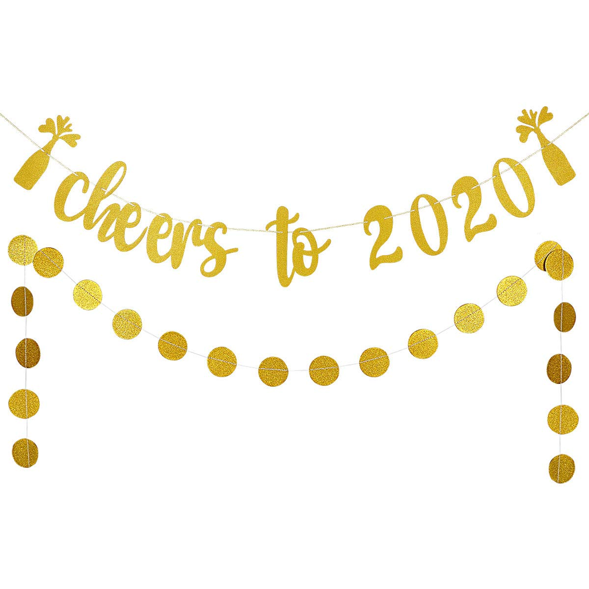 New Years Eve Party Decorations,New Years Party Decor Gold Glittery Cheers to 2020 Banner and Gold Glittery Circle Dots Garland Farewell to 2019 and welcome to 2020