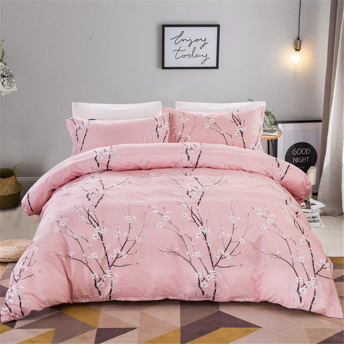 """Guidear Pink Floral Bedding Set for Girls Teens,Plum Flower Pattern Duvet Cover with 2 Pillowcases, 3 Pieces Soft Microfiber Quilt Cover with Zipper Closure Queen Size 90"""" x 90"""""""