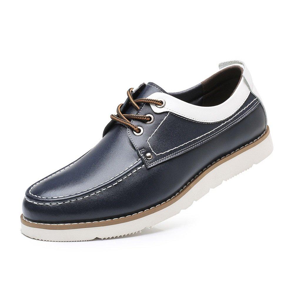 Lederschuhe Herren Casual Oxford Schuhe schnüren Sich Echtes Leder Weiche Sohle Loafers Blue