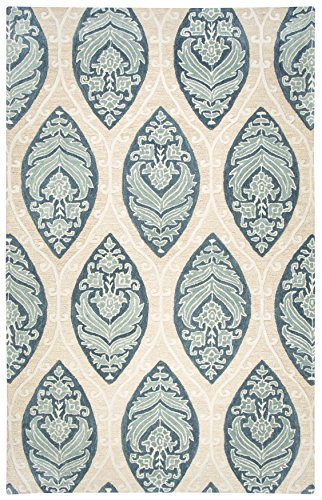 Rizzy Home Resonant Collection Wool Area Rug, 2 6 x 8 , Tan Light Tan Blue Gray Sage Green Medallion