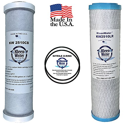 KleenWater Carbon Block Alternative Compatible Drinking Water Filter Set for GE GXSV10C and FXSVC with (2) Replacement O Rings