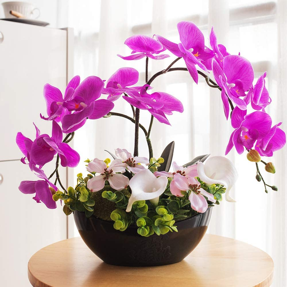 YILIYAJIA Orchid Flowers Artificial for Decoration, Artificial Flower Orchid Artificial Bonsai, Fake Orchids with Vase, Flower Arrangements 7 Head Waterproof PU Phalaenopsis (Style 4, Black Vase)