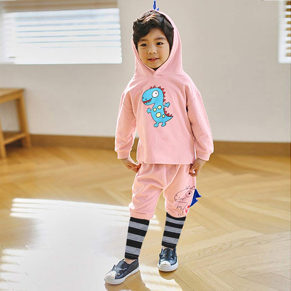 Sameno Baby Christmas Layette Set,Toddler Baby Boys Girls Dinosaur Hoodie Tops Patchwork Striped Pants Winter Outfits Set