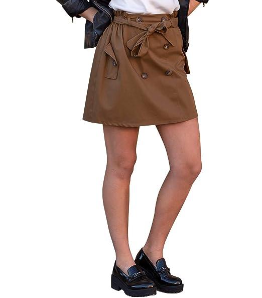 Mers Style - Mini Falda Cintura Elastica con Botones Marrón, para ...