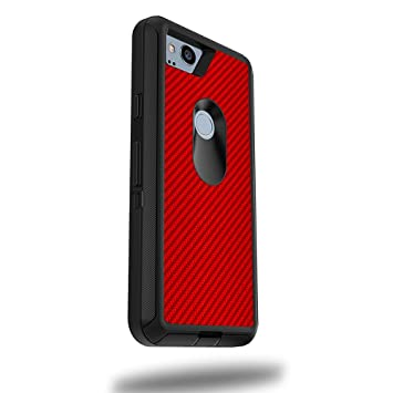 "MightySkins Skin for OtterBox Defender Google Pixel 2 XL 5.5"" Case - Red Carbon Fiber"