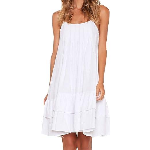 207a7f094a3 Women's Casual Sleeveless Ruffled Sling Dress Summer Halter Loose Above  Knee Mini Dresses Beach Sundress White
