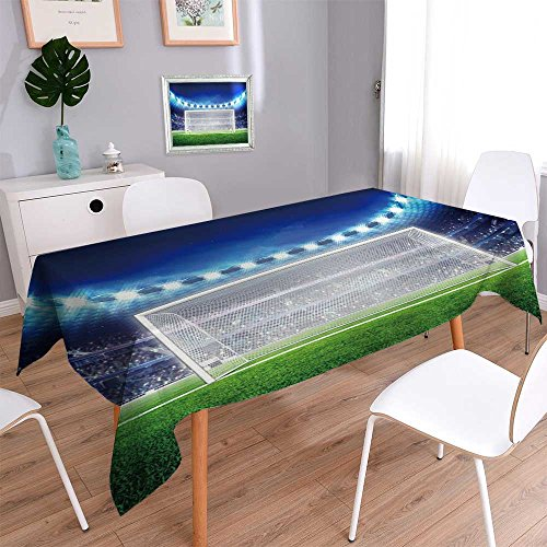 PRUNUSHOME Water Resistant Tablecloth football stadium with empty goal on the grass field sport Great for Buffet Table, Parties, Holiday Dinner, Wedding & More/52W x 108L Inch