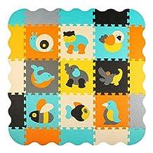 Foam Puzzle Play Mat Baby Floor Mats for Kids Room Interlocking Tiles Children Playmat Toddler Infant Crawling Mat, meiqicool P014B