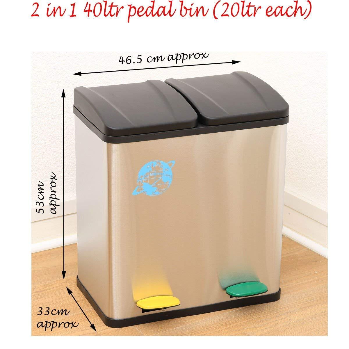 Cubo de basura 2 en 1 para reciclaje, con pedal, de acero ...