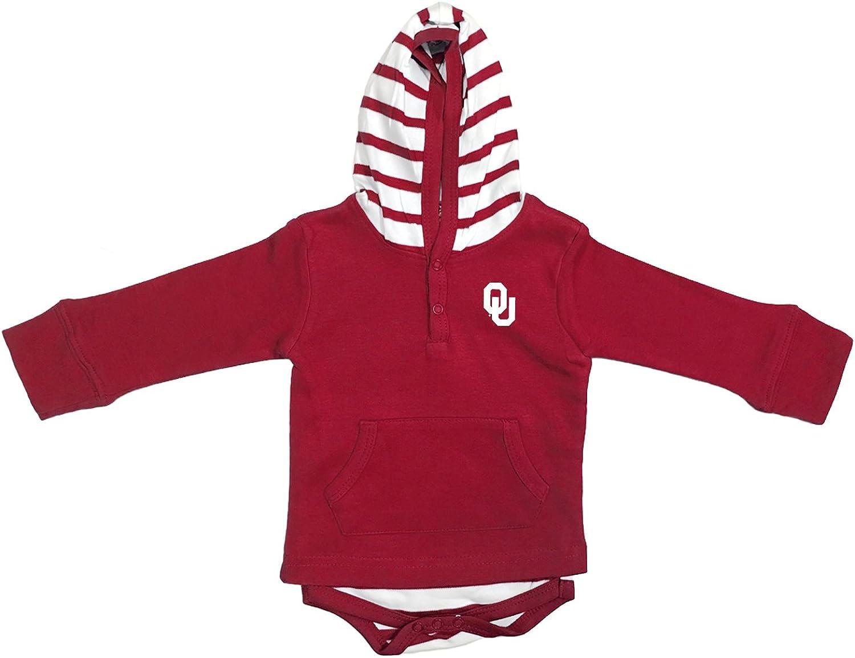 Two Feet Ahead Oklahoma Sooners Newborn Infant Striped Hooded Creeper Sweatshirt Jacket