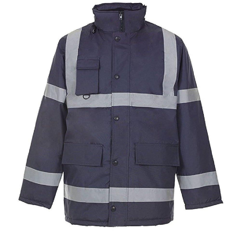 HuntaDeal Hi VIS Viz High Visibility Parka Jacket Coat Workwear Safety Security Concealed Hood Hooded Padded ¾ Length Waterproof Work Uniform Plus Big Size