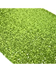 ELINAu0027S PACK OF1 Wedding 13 X 108 Inch Sequin Table Runner Wedding Banquet  Decoration (1, LIME GREEN)
