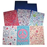 School Folders with Pockets - Graffiti Peace Love Hearts Flowers Dream Imagine Create - Total of 8